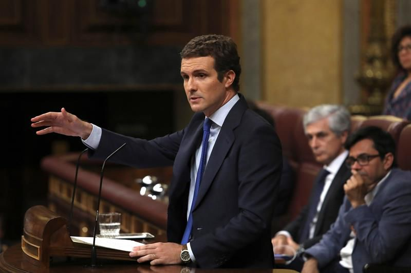 El presidente del Partido Popular, Pablo Casado, durante su intervención, este lunes.