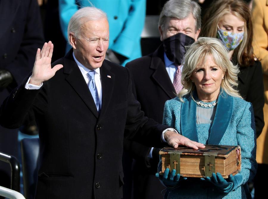 Joe Biden, durante el juramento de su cargo como presidente de Estados Unidos