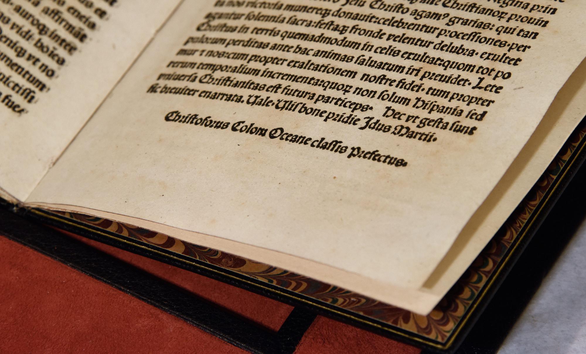 Estados Unidos recupera una carta de Colón que fue robada en Cataluña