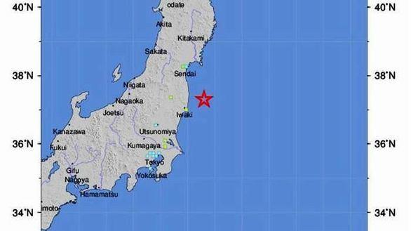Imagen del Servicio Geológico de Estados Unidos que muestra la zona de Japón en la que se ha registrado un terremoto de 7,3 grados que ha obligado a activar la alerta por tsunami.