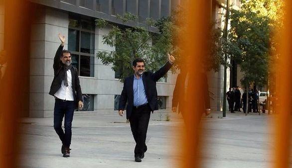 Jordi Cuixart y Jordi Sánchez a su llegada a la Audiencia Nacional