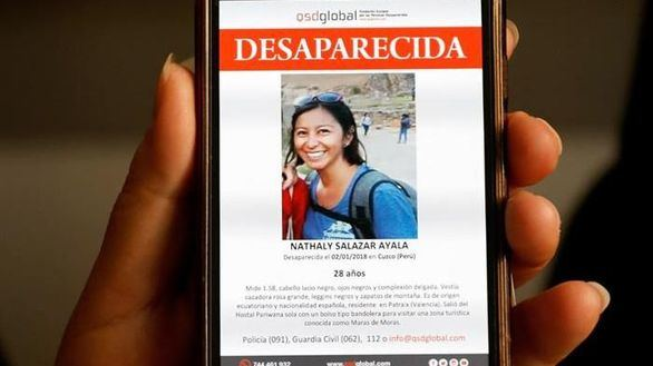 Dos detenidos por la muerte de la joven española desaparecida en Cuzco