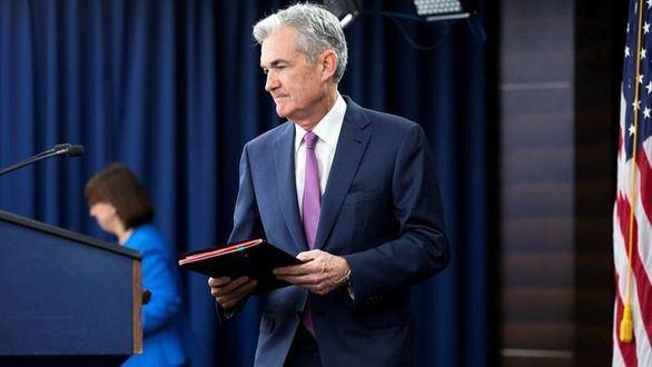 El presidente del banco central estadounidense, Jerome Powell, ofrece una rueda de prensa en Washington D.C.