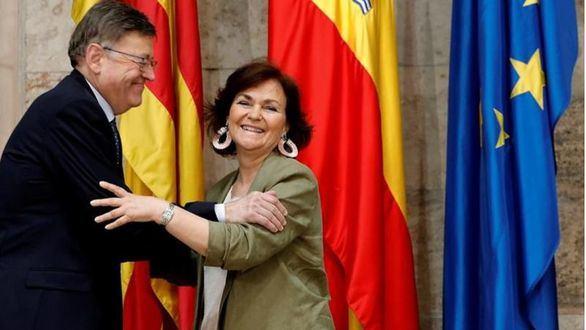 Carmen Calvo junto a Ximo Puig en Valencia