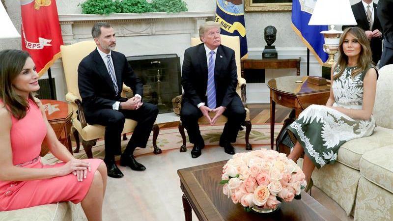 Donald Trump recibe a los Reyes en la Casa Blanca