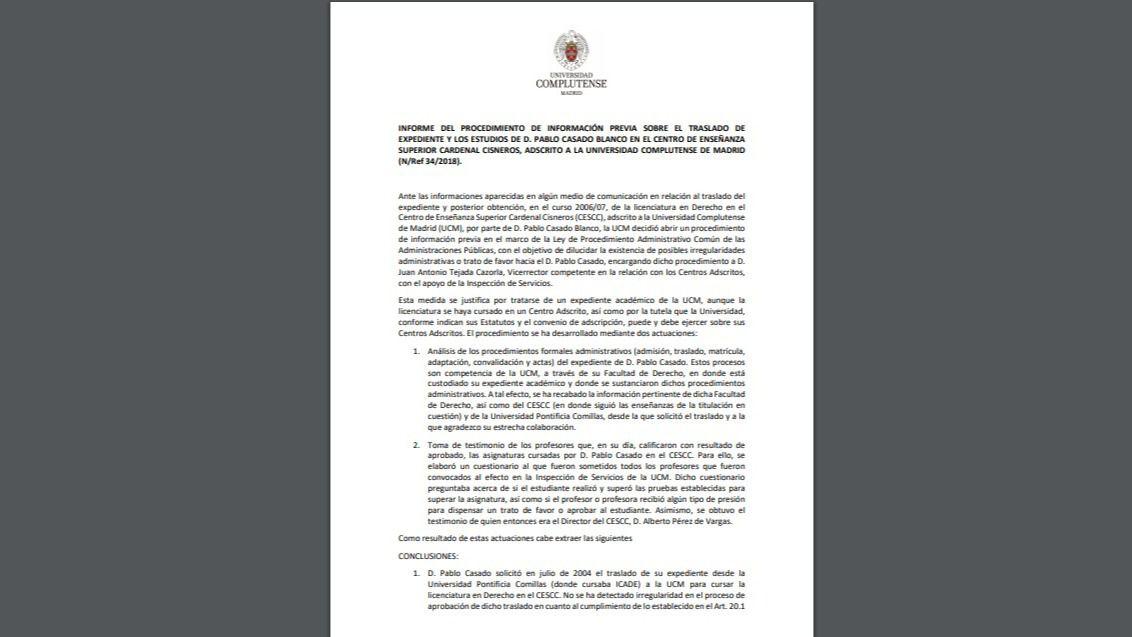 Informe de la UCM sobre el título de Derecho de Casado