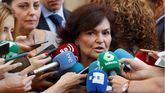 La vicepresidenta del Gobierno, Carmen Calvo, esta mañana.