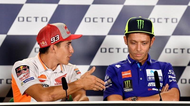 Rossi le niega el saludo a Marc Márquez antes del GP de San Marino