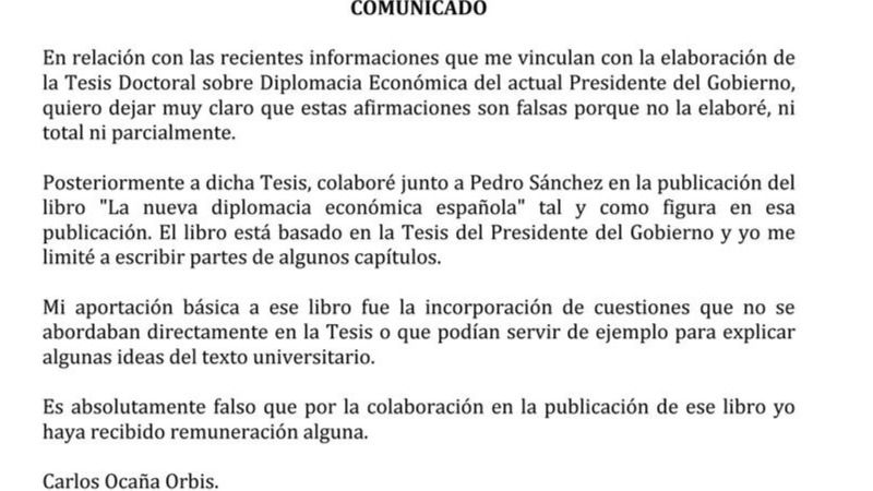 El supuesto 'negro' de Sánchez niega haber escrito la tesis