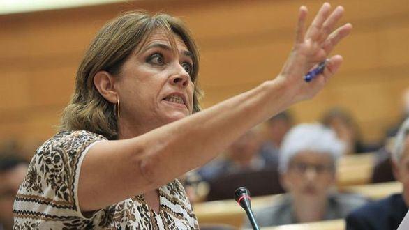 La ministra de Justicia, Dolores Delgado, durante su intervención en el pleno del Senado.