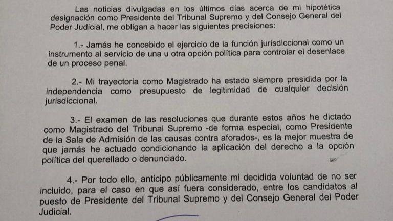 Documento | Comunicado del juez Marchena