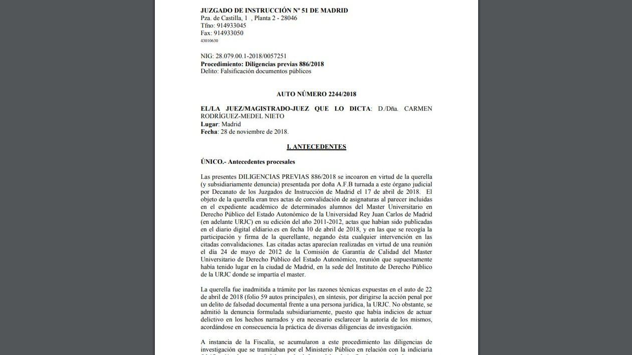 Documento | Auto de procesamiento de Cifuentes por su máster en la URJC