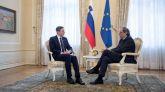 El presidente de la Generalidad, Quim Torra, durante la reunión con el presidente de Eslovenia Borut Pahor, el pasado 6 de diciembre.