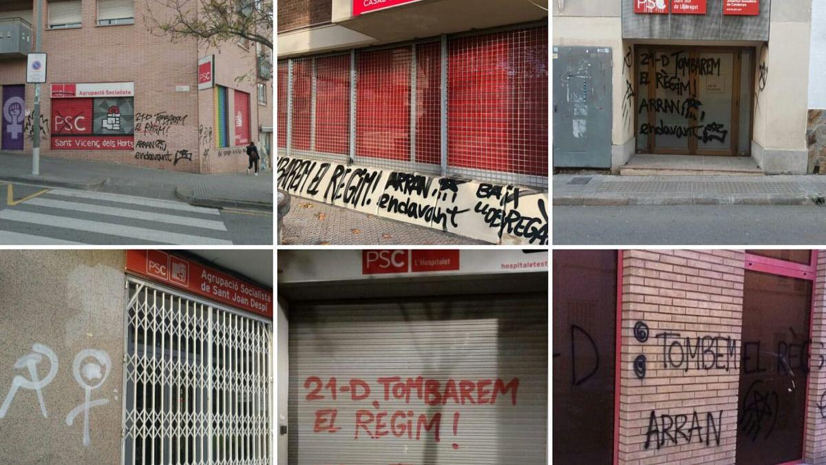 Los separatistas caldean el 21-D con pintadas en las sedes de PPC y PSC