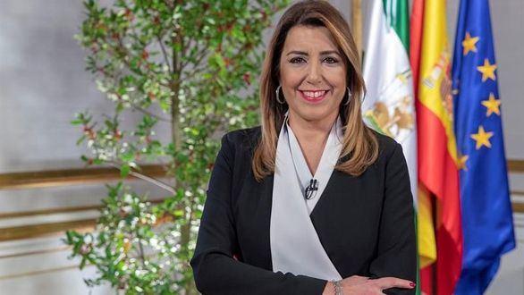 La presidenta en funciones de la Junta de Andalucía, Susana Díaz, durante su tradicional mensaje de fin de año.