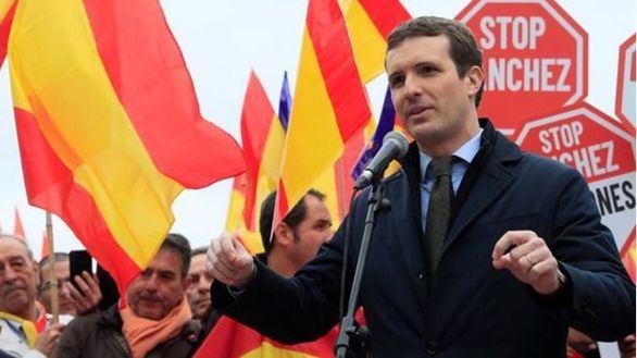 Pablo Casado en la plaza Colón de Madrid en el acto por la unidad de España
