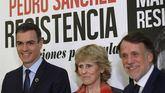 El presidente del Gobierno, Pedro Sánchez, junto a la periodista Mercedes Milá, y el presidente de Planeta, José Creuheras, durante la presentación de su libro 'Manuel de resistencia'.