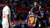 Un imperial Messi lidera la remontada azulgrana al Sevilla con un triplete  2-4