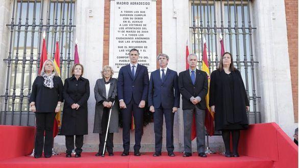 Sánchez, Carmena y Garrido conmemoran el 15º aniversario del 11M