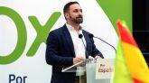 El candidato a la presidencia del Gobierno de Vox, Santiago Abascal, durante el mitin celebrado esta mañana en Vitoria.