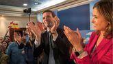 El presidente del PP, Pablo Casado (2d), participa en un acto de campaña acompañado por la candidata número uno del PP de Ciudad Real al Congreso, Rosa Romero.