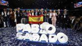 El candidato a la presidencia del Gobierno por el PP, Pablo Casado (c), junto al resto de candidatos, durante el acto de cierre de campaña que los populares celebraron este viernes.