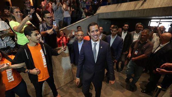 Juan Guaidó en un mitin.