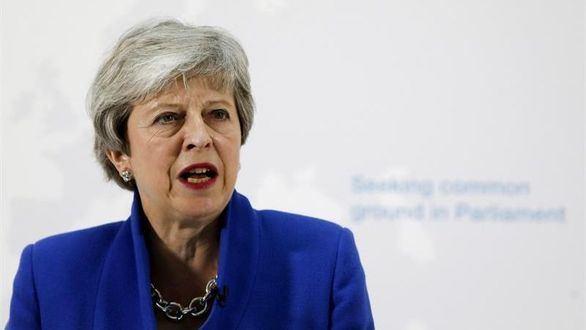 La primera ministra del Reino Unido, Theresa May, participa en un discurso en Londres, este martes.