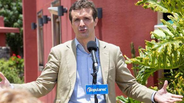 El presidente del Partido Popular, Pablo Casado, pronuncia un discurso, este jueves.