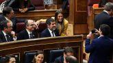 Los diputados separatistas suspendidos de JxCat, Josep Rull, Jordi Turull y Jordi Sánchez.