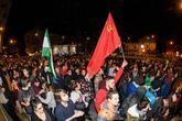 Manifestación llevada a cabo esta tarde en Granada, convocada a través de redes sociales, como protesta contra el fascismo.
