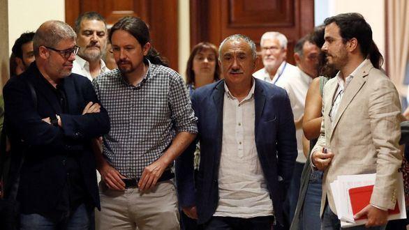 Iglesias se alía con los sindicatos para exigir a Sánchez entrar en el Gobierno