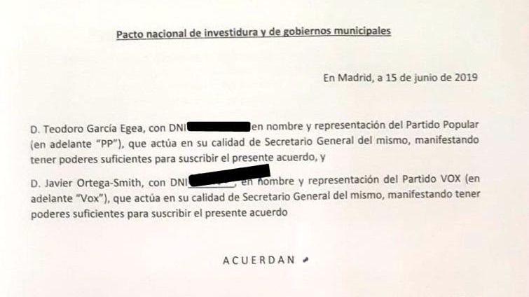 Documento | Lea aquí el acuerdo de la discordia entre Vox y el PP