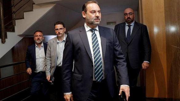 El secretario de Organización del PSOE y ministro de Fomento en funciones, José Luis Ábalos, este lunes.