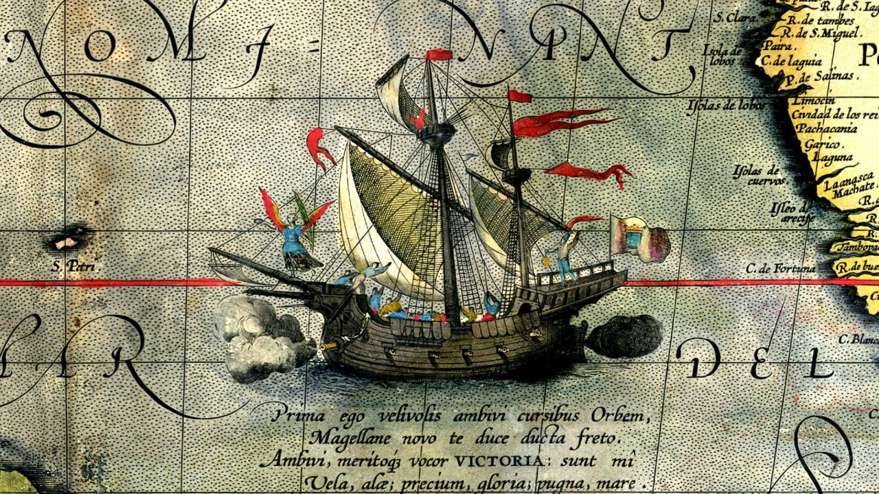 Detalle de un mapa (1590) de Abraham Ortelius que muestra la nave Victoria.