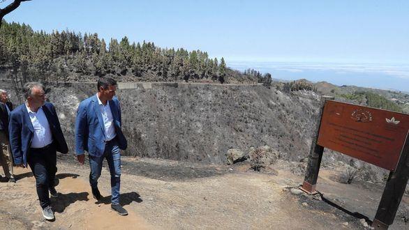 El presidente del Gobierno, Pedro Sánchez, y el presidente del Gobierno de Canarias, Angel Víctor Torres (i), durante la visita que realizaron a las zonas calcinadas por el incendio de Gran Canaria.