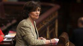 La vicepresidenta, Carmen Calvo, comparece para explicar la gestión del barco Open Arms.