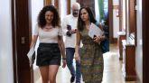 Las diputadas de Podemos Ione Belarra y Aina Vidal,a su llegada a la reunión de la Junta de Portavoces, este miércoles.