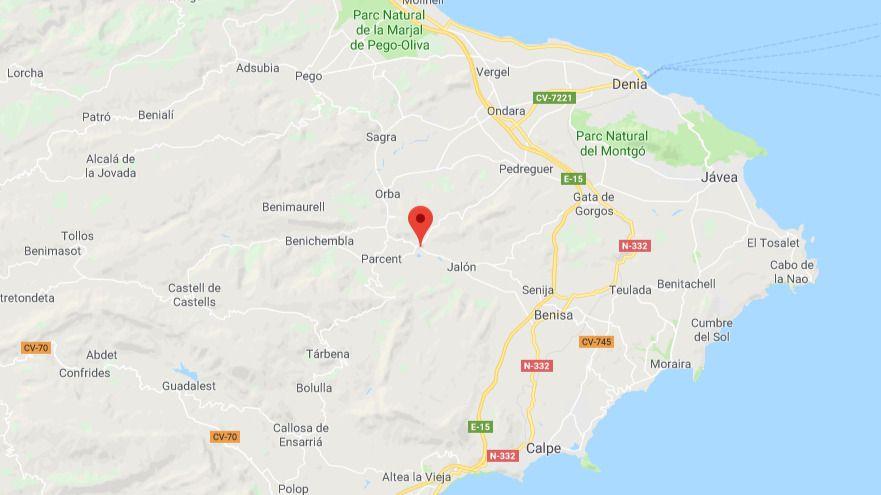 Dos fallecidos al estrellarse una avioneta en la Marina Alta, al norte de Alicante