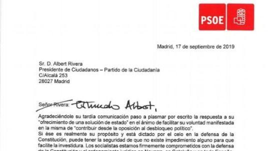 Sánchez garantiza por carta a Rivera su