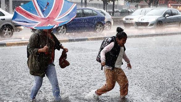 Fuerte tormenta sobre Pamplona, esta semana.
