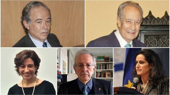 De izquierda a derecha y de arriba abajo: Gregorio Marañón, Juan-Miguel Villar Mir, María Inés López-Ibor, Juan Pablo Fusi y Lucía Sala Silveira.