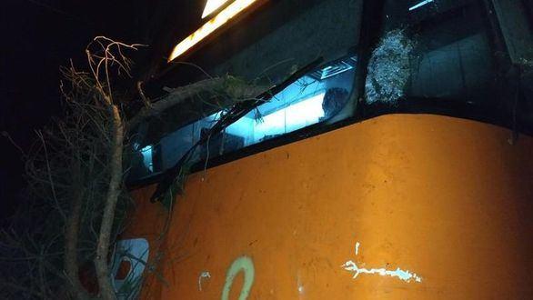 Un tren de cercanías choca contra un árbol cortado intencionadamente