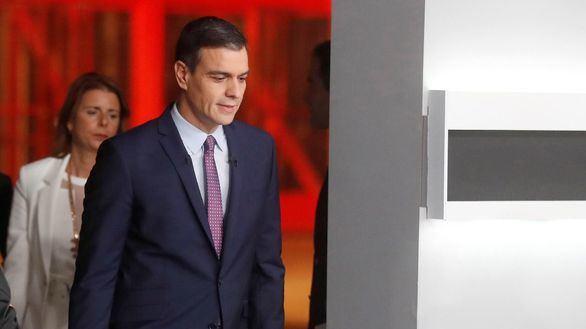 El candidato del PSOE, Pedro Sánchez, en el debate..