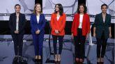 (i-d) Irene Montero (Unidas Podemos), Ana Pastor (PP), Inés Arrimadas (Ciudadanos), María Jesús Montero (PSOE), y Rocío Monasterio (Vox), antes del inicio del debate a cinco que protagonizan de cara a las elecciones generales del 10N, este jueves en laSexta.