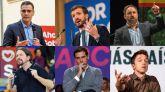 Los candidatos, por número de escaños en las encuestas: Pedro Sánchez (PSOE), Pablo Casado (PP), Santiago Abascal (Vox), Pablo Iglesias (Podemos), Albert Rivera (Cs) e Íñigo Errejón.