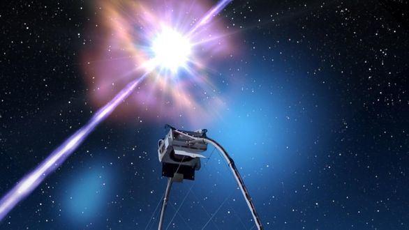 Representación artística del primer estallido de rayos gamma en altas energías detectado por MAGIC.