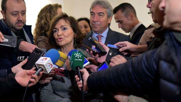 La vicepresidenta del Gobierno en funciones, Carmen Calvo, este jueves en Córdoba.