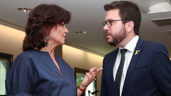 Carmen Calvo y Pere Aragonès, en una imagen de archivo.