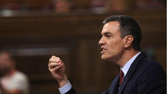 El presidente del Gobierno en funciones, Pedro Sánchez, durante su intervención en la primera jornada del debate de investidura que afronta el líder socialista.